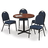 KFI 36 Round Mahogany HPL Table with 4 Blue Fabric Stack Chairs (36R025MHIM52BLF)