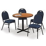 KFI 36 Round Medium Oak HPL Table with 4 Blue Fabric Stack Chairs (36R025MOIM52BLF)