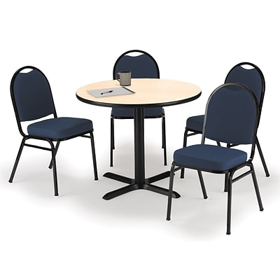 KFI 42 Round Natural HPL Table with 4 Navy Blue Fabric Stack Chairs (42R025NAIM52BLF)