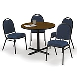 KFI 36 Round Walnut HPL Table with 4 Navy Blue Fabric Stack Chairs (36R025WLIM52BLF)