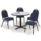 KFI 42 Round Grey Nebula HPL Table with 4 Blue Fabric Stack Chairs (42R025GNIM52BLF)