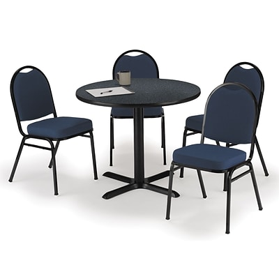 KFI 36 Round Graphite Nebula HPL Table with 4 Blue Fabric Stack Chairs (36R025GRIM52BLF)