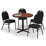 KFI 36 Round Mahogany HPL Table with 4 Black Fabric Stack Chairs (36R025MHIM52BKF)