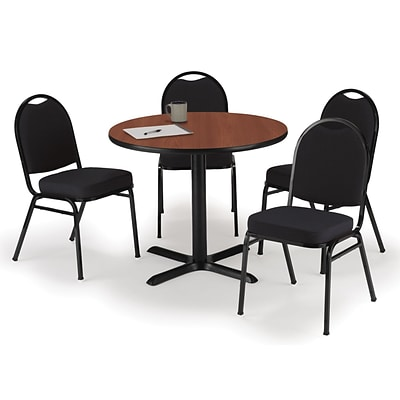 KFI 42 Round Mahogany HPL Table with 4 Black Fabric Stack Chairs (42R025MHIM52BKF)