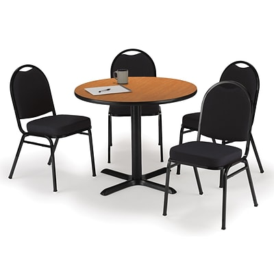 KFI 42 Round Medium Oak HPL Table with 4 Black Fabric Stack Chairs (42R025MOIM52BKF)