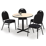 KFI 36 Round Natural HPL Table with 4 Black Fabric Stack Chairs (36R025NAIM52BKF)