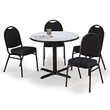 KFI 36 Round Grey Nebula HPL Table with 4 Black Fabric Stack Chairs (36R025GNIM52BKF)