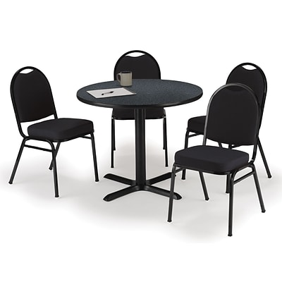 KFI 42 Round Graphite Nebula HPL Table with 4 Black Fabric Stack Chairs (42R025GRIM52BKF)