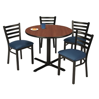 KFI 36 Round Mahogany HPL Table with 4 Navy Vinyl CafeChairs (36R025MHIM316NV)