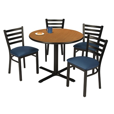 KFI 36 Round Medium Oak HPL Table with 4 Navy Vinyl CafeChairs (36R025MOIM316NV)