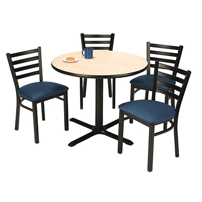KFI 36 Round Natural HPL Table with 4 Navy Vinyl Cafe Chairs (36R025NAIM316NV)