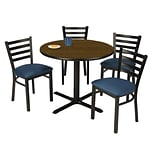 KFI 42 Round Walnut HPL Table with 4 Navy Vinyl Cafe Chairs (42R025WLIM316NV)