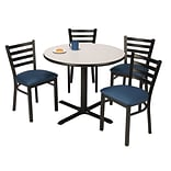 KFI 36 Round Grey Nebula HPL Table with 4 Navy Vinyl Cafe Chairs (36R025GNIM316NV)