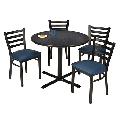 KFI 42 Round Graphite Nebula HPL Table with 4 Navy Vinyl Cafe Chairs (42R025GRIM316NV)