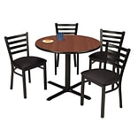KFI 36 Round Mahogany HPL Table with 4 Black Vinyl Cafe Chairs (36R025MHIM316BV)