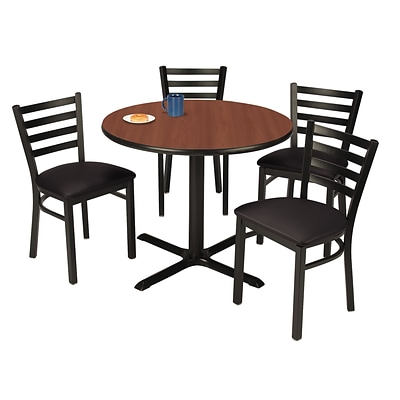 KFI 42 Round Mahogany HPL Table with 4 Black Vinyl Cafe Chairs (42R025MHIM316BV)