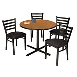 KFI 42 Round Medium Oak HPL Table with 4 Black Vinyl Cafe Chairs (42R025MOIM316BV)