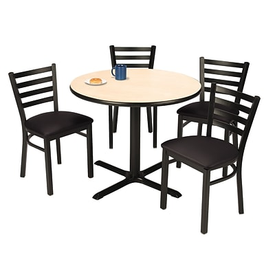 KFI 42 Round Natural HPL Table with 4 Black Vinyl Cafe Chairs (42R025NAIM316BV)