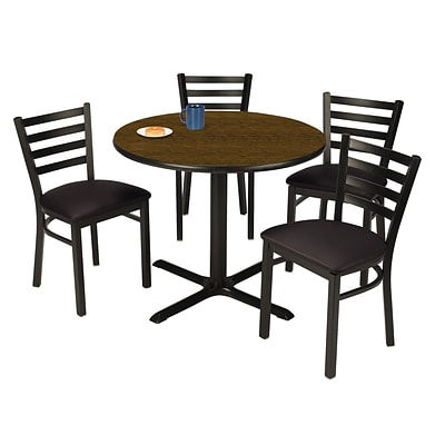 KFI 36 Round Walnut HPL Table with 4 Black Vinyl Cafe Chairs (36R025WLIM316BV)