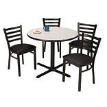 KFI 42 Round Grey Nebula HPL Table with 4 Black Vinyl Cafe Chairs (42R025GNIM316BV)