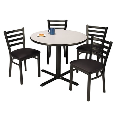 KFI 36 Round Grey Nebula HPL Table with 4 Black Vinyl Cafe Chairs (36R025GNIM316BV)