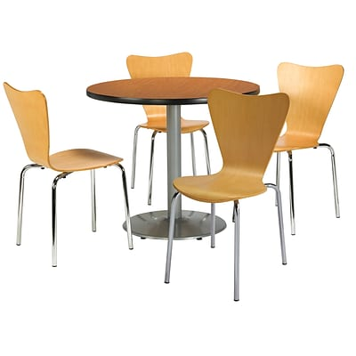 KFI 36 Round Medium Oak HPL Table with 4 Natural Bentwood Cafe Chairs (36R192SMO3888NA)