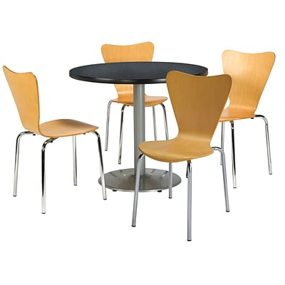 KFI 36 Round Graphite Nebula HPL Table with 4 Natural Bentwood Cafe Chairs (36R192SGR3888NA)
