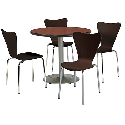 KFI 42 Round Mahogany HPL Table with 4 Espresso Bentwood Cafe Chairs (42R192SMH3888ES)