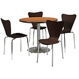 KFI 36 Round Medium Oak HPL Table with 4 Espresso Bentwood Cafe Chairs (36R192SMO3888ES)
