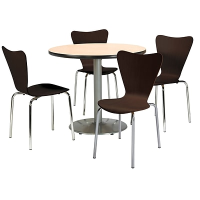 KFI 36 Round Natural HPL Table with 4 Espresso Bentwood Cafe Chairs (36R192SNA3888ES)