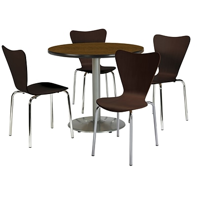 KFI 36 Round Walnut HPL Table with 4 Espresso Bentwood Cafe Chairs (36R192SWL3888ES)
