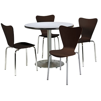KFI 36 Round Grey Nebula HPL Table with 4 Espresso Bentwood Cafe Chairs (36R192SGN3888ES)
