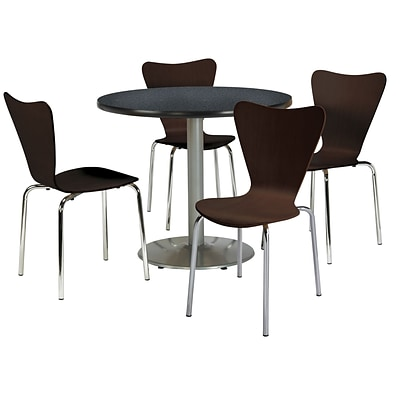 KFI 42 Round Graphite Nebula HPL Table with 4 Espresso Bentwood Cafe Chairs (42R192SGR3888ES)