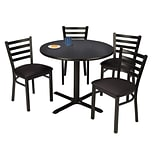 KFI 42 Round Graphite Nebula HPL Table with 4 Black Vinyl Cafe Chairs (42R025GRIM316BV)