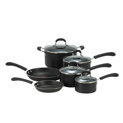 T Fal(r) Professional Total Non Stick 10 Piece Cookware Set; Black (e938sa94)
