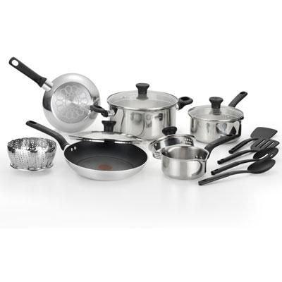 T Fal(r) Excite 14 Piece Cookware Set; Silver (c911se74)