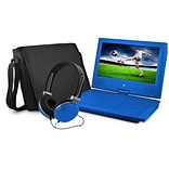 Ematic EPD909 Portable 9 VD Player with Matching Headphones and Bag; Blue