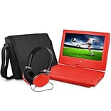 Ematic EPD909 Portable 9 DVD Player with Matching Headphones and Bag, Red