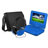 Ematic EPD707 Portable 7 DVD Player with Matching Headphones and Bag; Blue