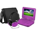 Ematic EPD707 Portable 7 DVD Player with Matching Headphones and Bag, Purple