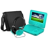 Ematic EPD707 Portable 7 DVD Player with Matching Headphones and Bag, Teal