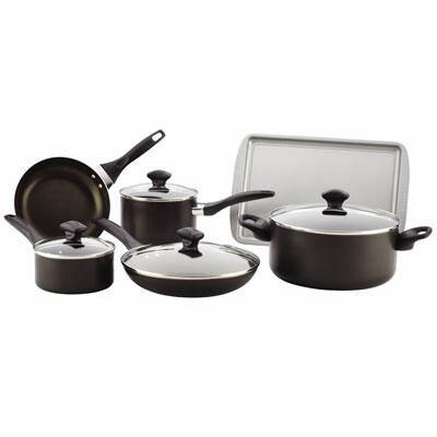 Farberware(r) 21806 Aluminum Dishwasher Safe Non Stick 15 Piece Cookware Set; Black