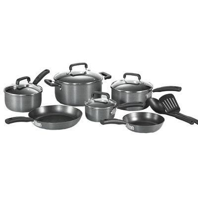 T Fal(r) Signature 12 Piece Hard Anodized Non Stick Cookware Set; Black (d913sc64)