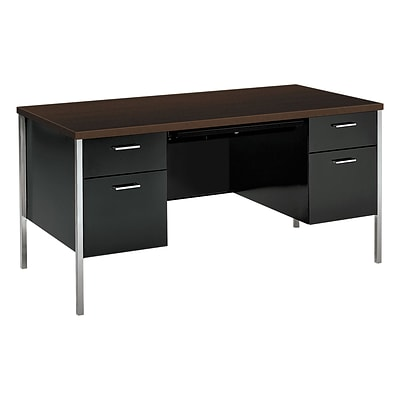 HON® 34000 Series in Mocha, Desk with Double Pedestal