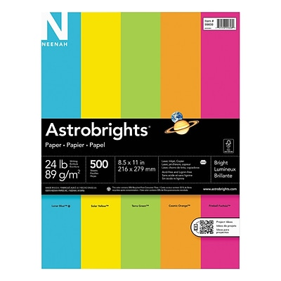Neenah Paper Astrobrights Bright Assortment, 8 1/2 X 11, Assorted, 24 Lb., 500 Sheets/ream