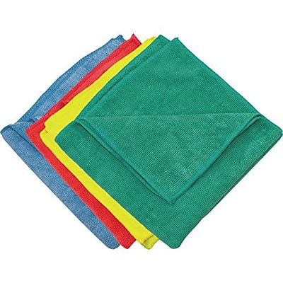 Zwipes 16 x 16 Microfiber Cleaning Towel, Assorted Colors, Package of 12 (H1-729)