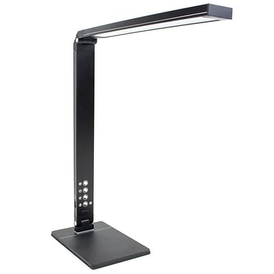 Newhouse Lighting 10W Modern LED Adjustable Desk Lamp w/ Color Temperature Changing, Dimming & USB Charging, Black (NH-LEDMAS-B)