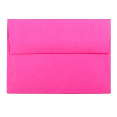 JAM Paper® 4bar A1 Envelopes, 3 5/8 x 5 1/8, Brite Hue Ultra Fuchsia Pink, 250/box (15790H)