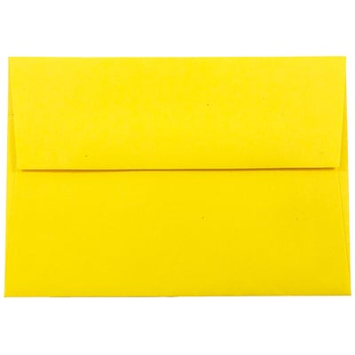 JAM Paper® 4bar A1 Envelopes, 3 5/8 x 5 1/8, Brite Hue Yellow Recycled, 1000/carton (15801B)