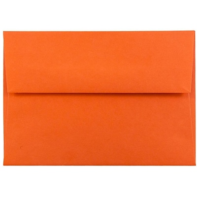 JAM Paper® 4bar A1 Envelopes, 3 5/8 x 5 1/8, Brite Hue Orange Recycled, 25/pack (15808)